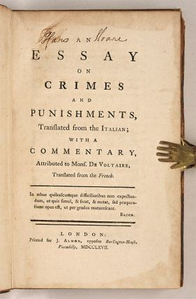 An Essay on Crimes and Punishments, Translated from the Italian...