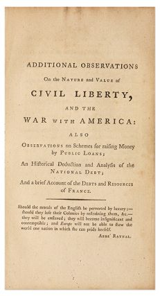 Two Tracts on Civil Liberty, The War with America, And the Debts and..