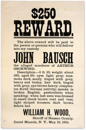 $250 Reward, The Above Reward Will be Paid to the Person of Persons. Broadside, Murder, New York...