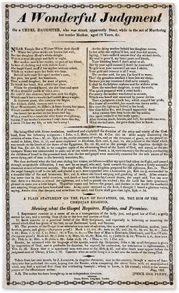 A Wonderful Judgment on a Cruel Daughter, Who Was Struck Apparently. Broadside, Murder, Great...