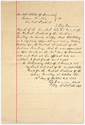 Document Appointing A Notary Public for the Central District. Manuscript, Oklahoma, Indian Territory
