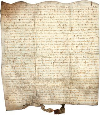 Marriage Contract, York, England, 1345, in Anglo-Norman. Thomas de Nevill