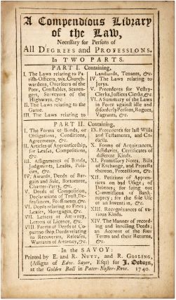 A Compendious Library of the Law, Necessary for Persons of All...