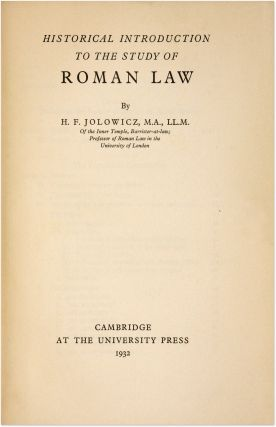 Historical Introduction to the Study of Roman Law, 1st edition.