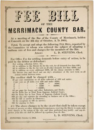 "Fee Bill of the Merrimack County Bar, 13-1/2"" x 10-1/2"" broadside. Broadside, Merrimack County Bar"