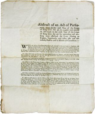 Abstract of an Act of Parliament Made in the 32d Year of the Reign. Broadside, Rogues and...