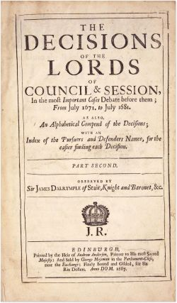 The Decisions of the Lords of Council & Session, Two Vols, Complete.