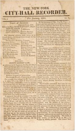 The New York City Hall Recorder, For the Year 1816, Containing...