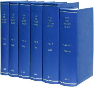 Law and History Review. Vols. 1 to 7 no. 1 (1983-1989), in 6 books. American Society for Legal...