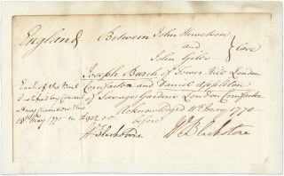 Autograph Document, Signed Twice, May 11 and 18, 1770. Manuscript, Sir William Blackstone
