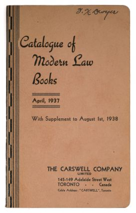 Catalogue of Modern Law Books, April 1937 w/Supplement to August 1938. Legal Publishing, Ltd...