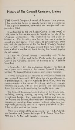 Catalogue of Modern Law Books, April 1937 w/Supplement to August 1938.