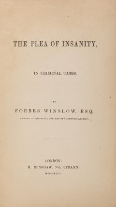 The Plea of Insanity, In Criminal Cases. First Edition.