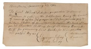 Document Concerning Payment for the Purchase of Law Books, 1762. Manuscript, Law Books,...