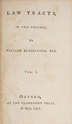 Law Tracts, In Two Volumes, Oxford, 1762, First edition.