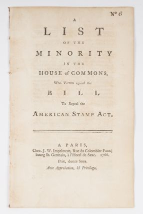 A List of the Minority in the House of Commons, Who Voted Against. Stamp Act