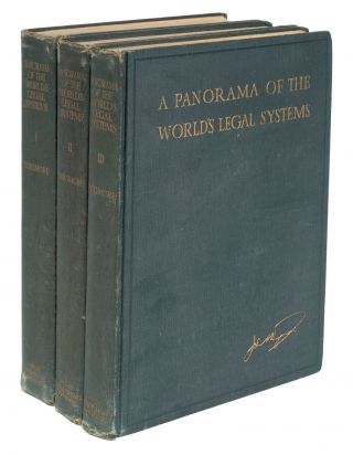 A Panorama of the World's Legal Systems, Signed and Inscribed copy. John Henry Wigmore