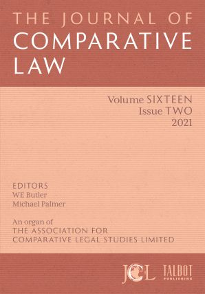 The Journal of Comparative Law. ANNUAL SUBSCRIPTION. Subscription: Institutional USA Print,...