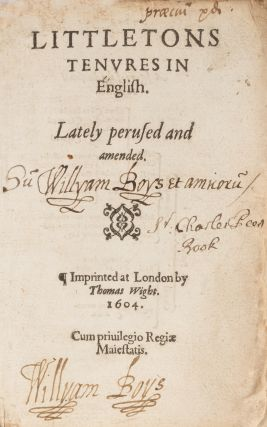 Littletons Tenures in English, Lately Perused and Amended.