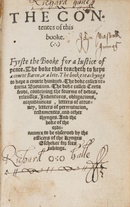 The Contentes of this Boke. Fyrst the Booke that Teacheth to Kepe...