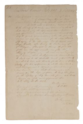 Affidavit Concerning the Case of Texas v James Cotton, 1852. Manuscript, Texas, James Cotton,...