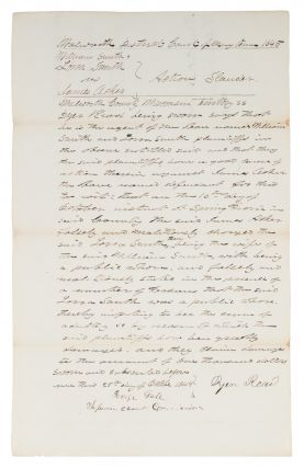 Accusation of Adultery in the Wisconsin Territory. 1845. Manuscript, Wisconsin, James Acker,...