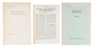 Offprints, Addresses and Pamphlets, 3 of Them Signed by Pound, 1908. Archive, Roscoe Pound