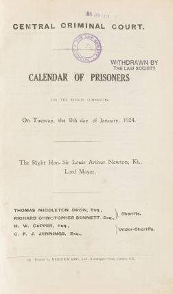 Calendar of Prisoners, For the Session[s] Jan. 1924 to Dec. 1970