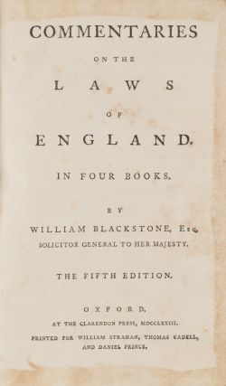 Commentaries on the Laws of England. In Four Books, 5th ed. Eller 7...