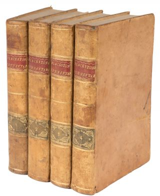 Commentaries on the Laws of England. Dublin, 1773. 4 Volumes. Sir William Blackstone
