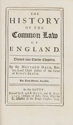 The History of the Common Law of England, 3rd ed. 1739