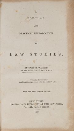 A Popular and Practical Introduction to Law Studies. 1st American ed.