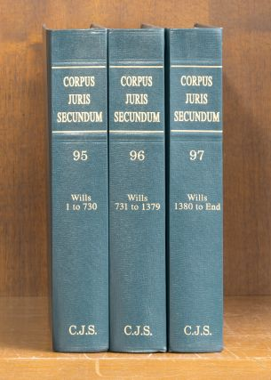 Corpus Juris Secundum Wills 1-end 3 books 2001 Vols. 95-97 w/2003 supp. Thomson West Reuters