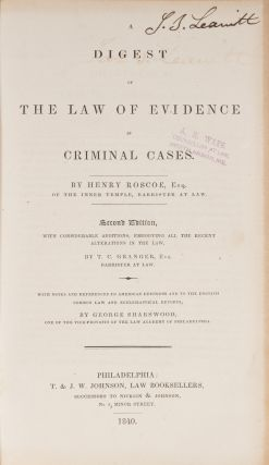 A Digest of the Law of Evidence in Criminal Cases, 2nd ed 1840.