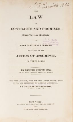 The Law of Contracts and Promises Upon Various Subjects and With...