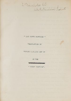 Las Siete Partidas, Translation of Titles I, II, III and IV of the..