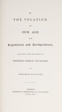 Of the Vocation of Our Age for Legislation and Jurisprudence...