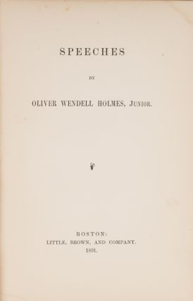 Speeches, First Edition, Presentation copy, Inscribed by Holmes.