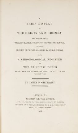 A Brief Display of the Origin and History of Ordeals, Trials by...