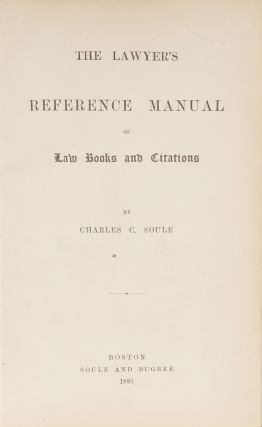 The Lawyer's Reference Manual of Law Books and Citations.