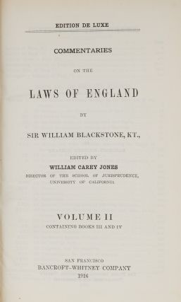 Commentaries on the Laws of England, De Luxe ed, 4 vols in 2 books...