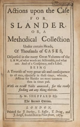 Actions Upon the Case for Slander, Or A Methodical Collection Under...