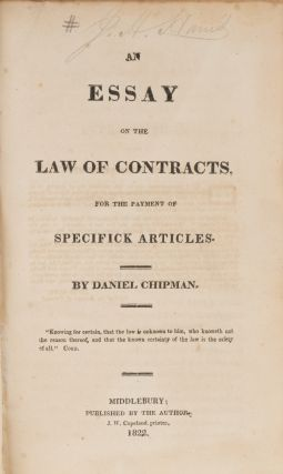 An Essay on the Law of Contracts, For the Payment of Specifick...
