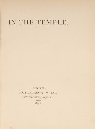 In the Temple, London, Hutchinson, 1892.